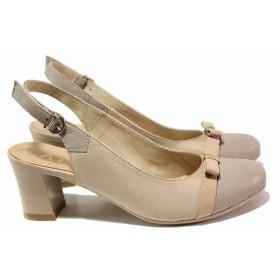 Дамски обувки на среден ток - естествена кожа с естествен лак - бежови - EO-16159