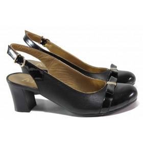 Дамски обувки на среден ток - естествена кожа с естествен лак - черни - EO-16158