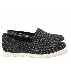 Равни дамски обувки - естествена кожа - черни - EO-16202