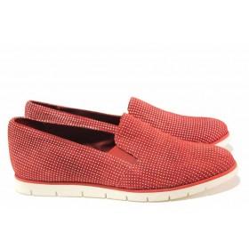 Равни дамски обувки - естествена кожа - червени - EO-16203