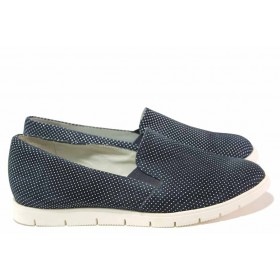 Равни дамски обувки - естествена кожа - тъмносин - EO-16204