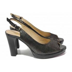 Дамски сандали - естествена кожа - черни - EO-16201
