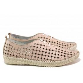 Равни дамски обувки - естествена кожа - розови - EO-16169