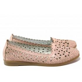 Равни дамски обувки - естествена кожа - розови - EO-16171