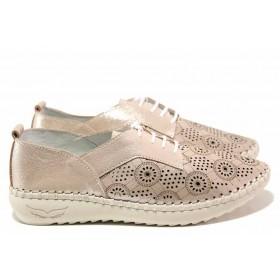Равни дамски обувки - естествена кожа - розови - EO-16176