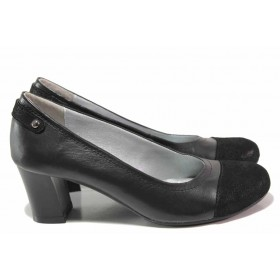 Дамски обувки на висок ток - естествена кожа с естествен велур - черни - EO-16160