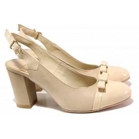 Дамски обувки на висок ток - естествена кожа с естествен лак - бежови - EO-16159