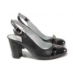Дамски обувки на висок ток - естествена кожа с естествен лак - черни - EO-16200