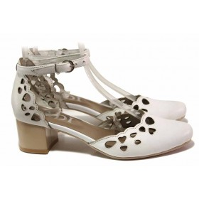 Дамски обувки на среден ток - естествена кожа - бели - EO-16179