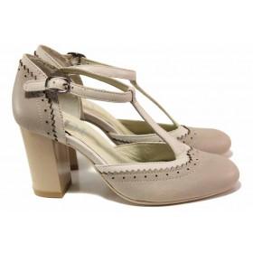 Дамски обувки на висок ток - естествена кожа - бежови - EO-16180