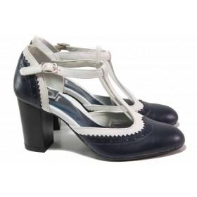 Дамски обувки на висок ток - естествена кожа - тъмносин - EO-16181