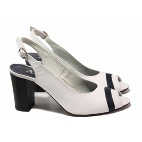 Дамски сандали - естествена кожа - бели - EO-16162