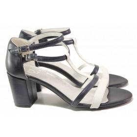 Дамски сандали - естествена кожа - сини - EO-16164