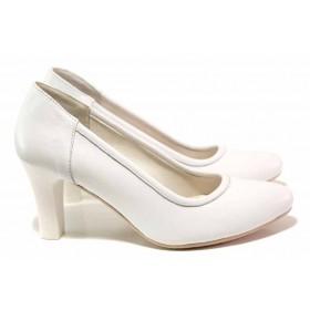 Дамски обувки на висок ток - естествена кожа - бели - EO-16161