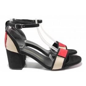 Дамски сандали - велур - черни - EO-16183