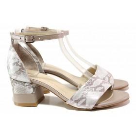 Дамски сандали - естествена кожа - сребро - EO-16184