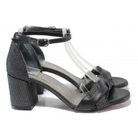 Дамски сандали - естествена кожа с естествен велур - черни - EO-16217