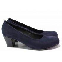 Дамски обувки на среден ток - естествен набук - сини - EO-16358