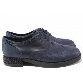 Равни дамски обувки - естествена кожа - сини - EO-16359