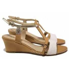 Дамски сандали - естествена кожа - бежови - EO-16362
