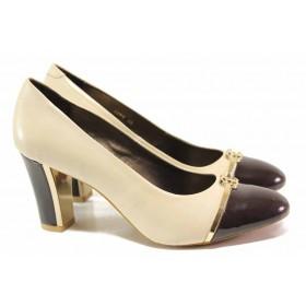 Дамски обувки на висок ток - естествена кожа с естествен лак - бежови - EO-16369
