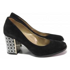 Дамски обувки на висок ток - естествен велур - черни - EO-16388