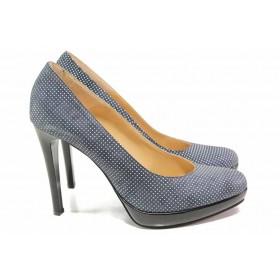 Дамски обувки на висок ток - естествен велур - тъмносин - EO-16380