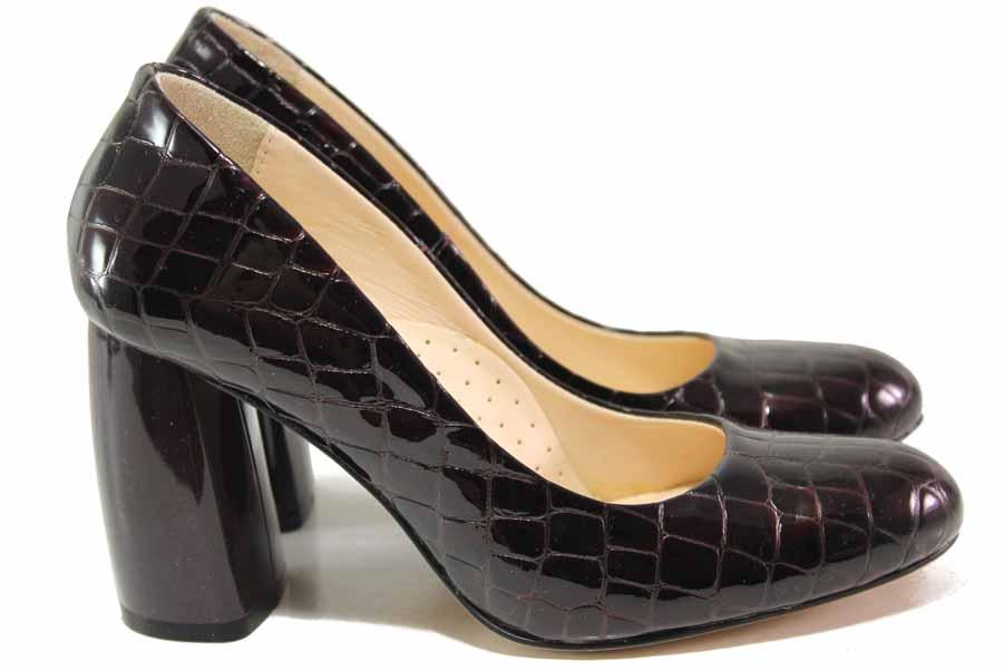 Дамски обувки на висок ток - естествена кожа-лак - бордо - EO-16379