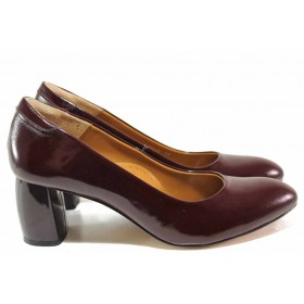 Дамски обувки на висок ток - естествена кожа-лак - бордо - EO-16382