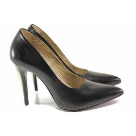 Дамски обувки на висок ток - естествена кожа с естествен лак - черни - EO-16389
