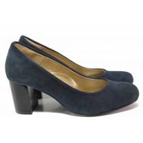 Дамски обувки на среден ток - естествен велур - тъмносин - EO-16374