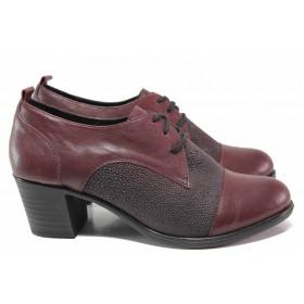 Дамски обувки на среден ток - естествена кожа - бордо - EO-16378
