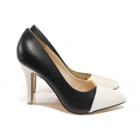 Дамски обувки на висок ток - висококачествена еко-кожа - черни - EO-16387