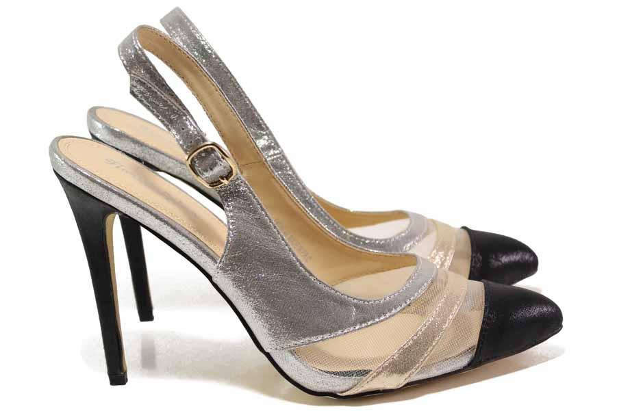 Дамски обувки на висок ток - висококачествена еко-кожа - черни - EO-16386