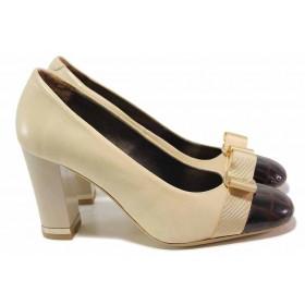 Дамски обувки на висок ток - естествена кожа - бежови - EO-16416
