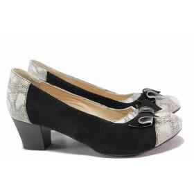 Дамски обувки на среден ток - естествен велур - черни - EO-16418