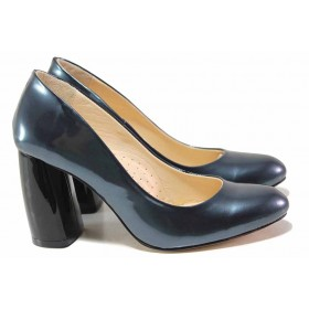 Дамски обувки на висок ток - естествена кожа-лак - сини - EO-16419