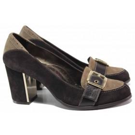 Дамски обувки на висок ток - естествен велур - кафяви - EO-16420
