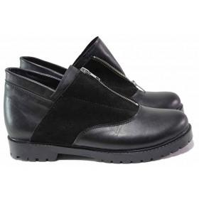 Равни дамски обувки - естествена кожа с естествен велур - черни - EO-16486