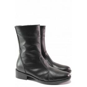 Дамски боти - естествена кожа - черни - EO-16511