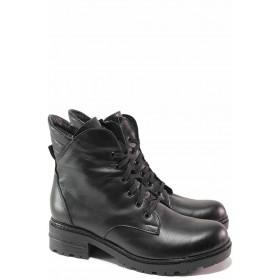Дамски боти - естествена кожа - черни - EO-16832