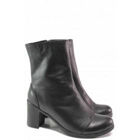 Дамски боти - естествена кожа - черни - EO-16512