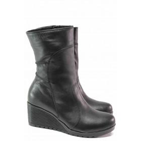 Дамски боти - естествена кожа - черни - EO-16428
