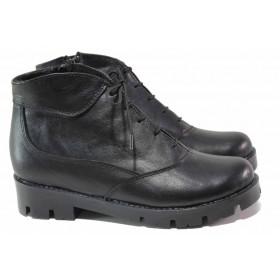 Дамски боти - естествена кожа - черни - EO-16425
