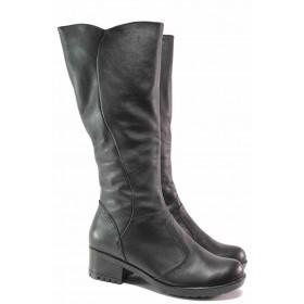 Дамски ботуши - естествена кожа - черни - EO-16459