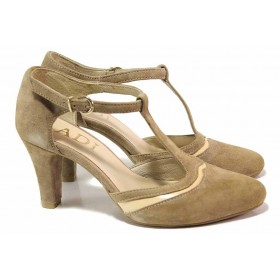 Дамски обувки на висок ток - естествен велур - бежови - EO-16453