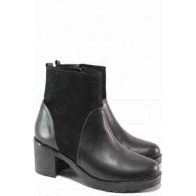 Дамски боти - естествена кожа - черни - EO-16628