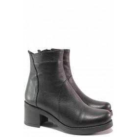 Дамски боти - естествена кожа - черни - EO-16624