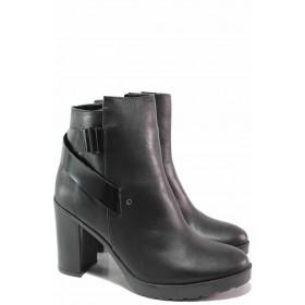 Дамски боти - естествена кожа - черни - EO-16612