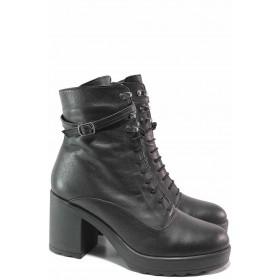Дамски боти - естествена кожа - черни - EO-16631
